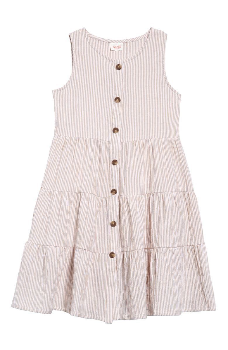 SEED HERITAGE Stripe Button Dress, Main, color, SAND