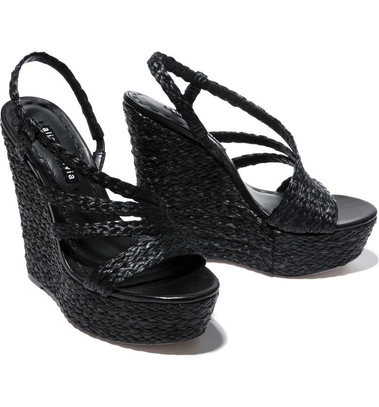 ALICE + OLIVIA Tenley Woven Wedge Platform Sandal, Main, color, BLACK