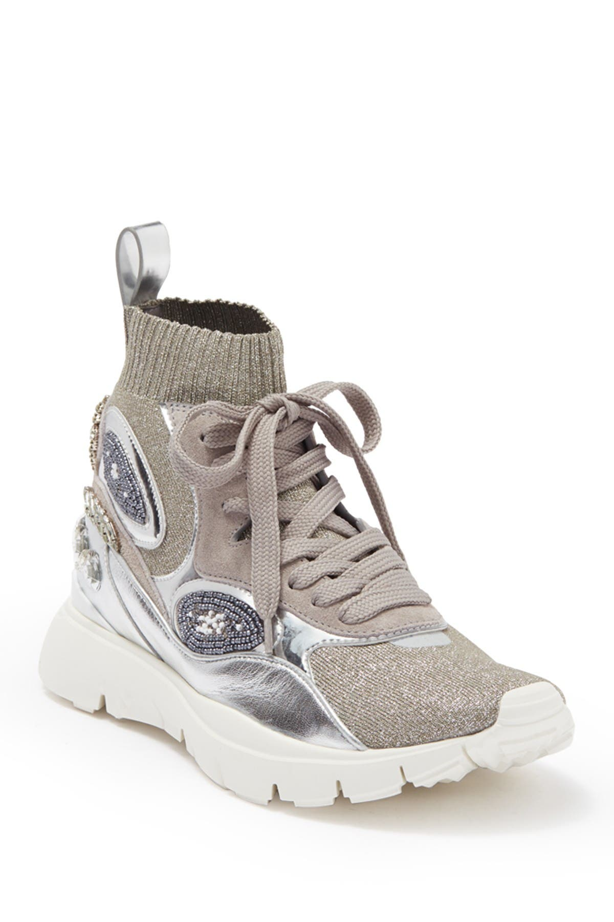 Image of Valentino Embellished Stretch Sneaker