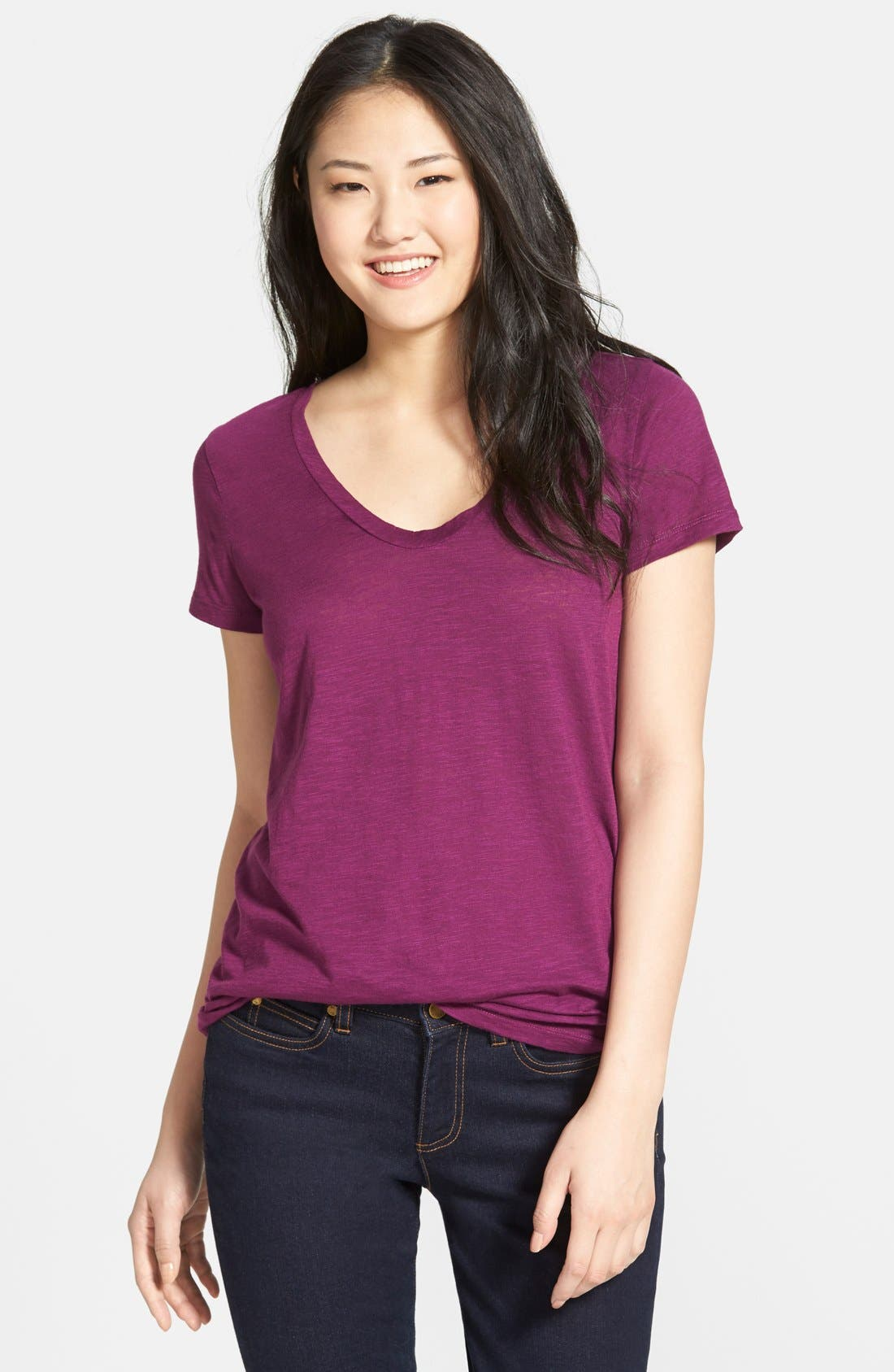 ,                             Relaxed Slub Knit U-Neck Tee,                             Main thumbnail 333, color,                             502