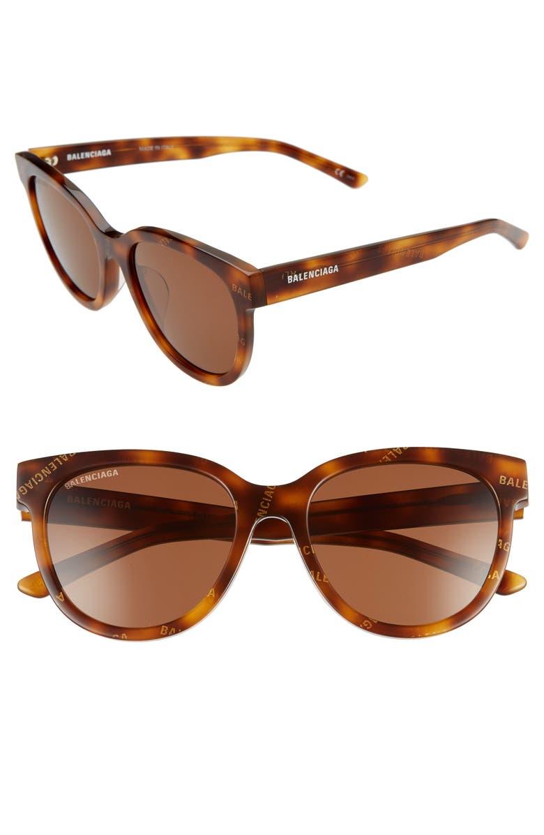 BALENCIAGA 54mm Round Cat Eye Sunglasses, Main, color, HAVANA/ BROWN
