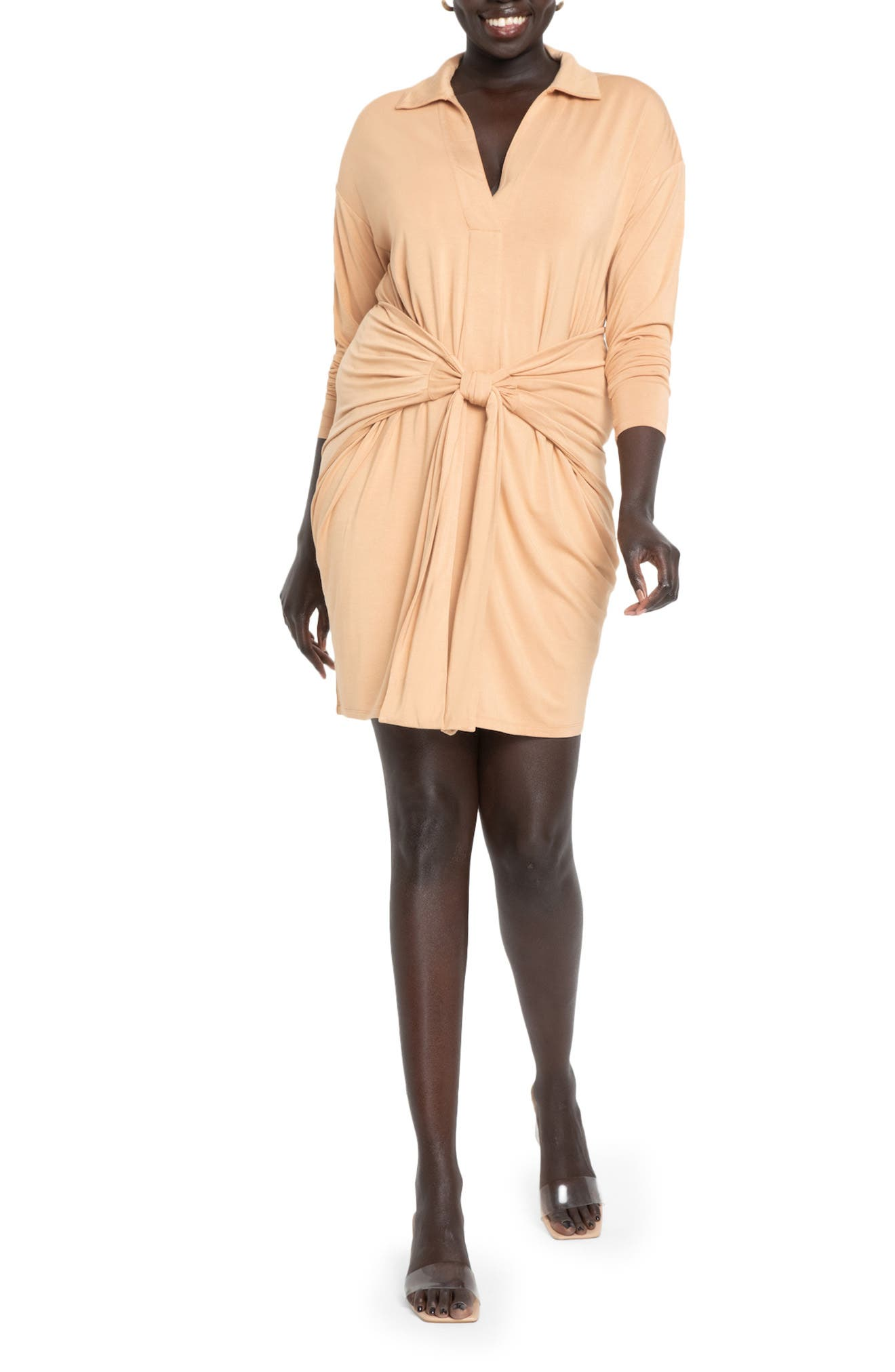 Tie Front Long Sleeve Dress