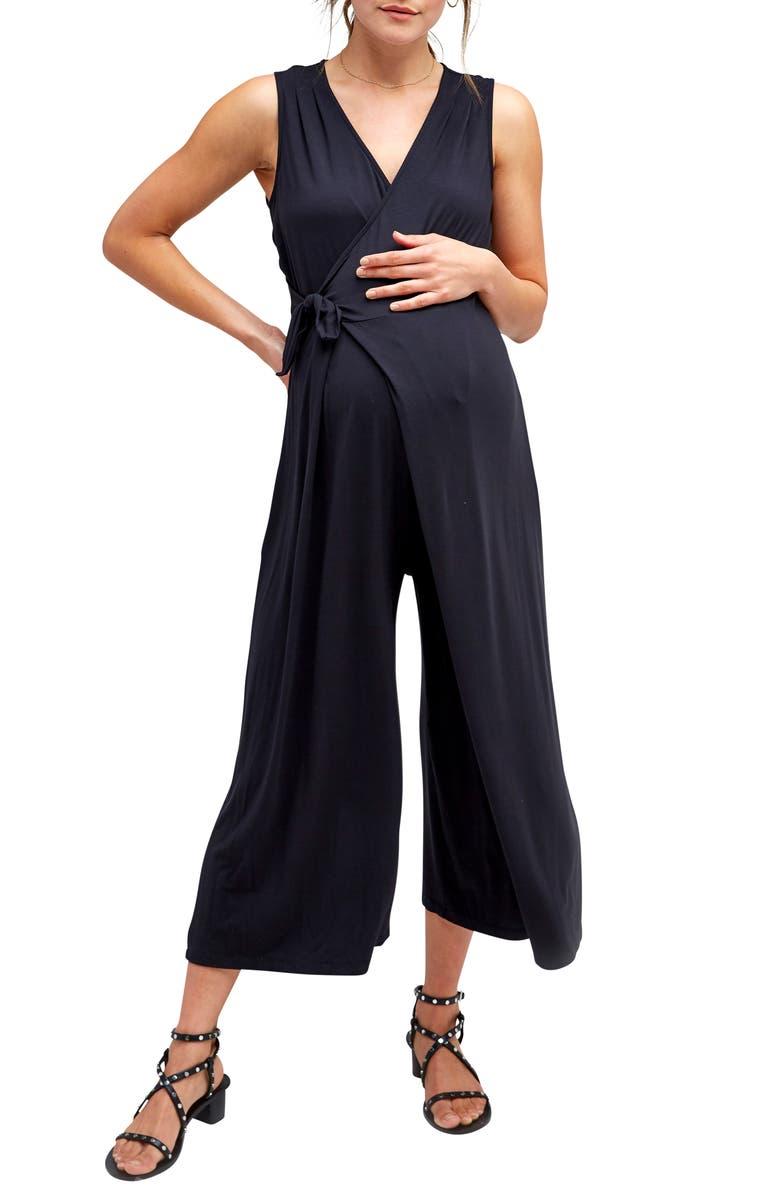 NOM MATERNITY Francesca Maternity/Nursing Jumpsuit, Main, color, BLACK