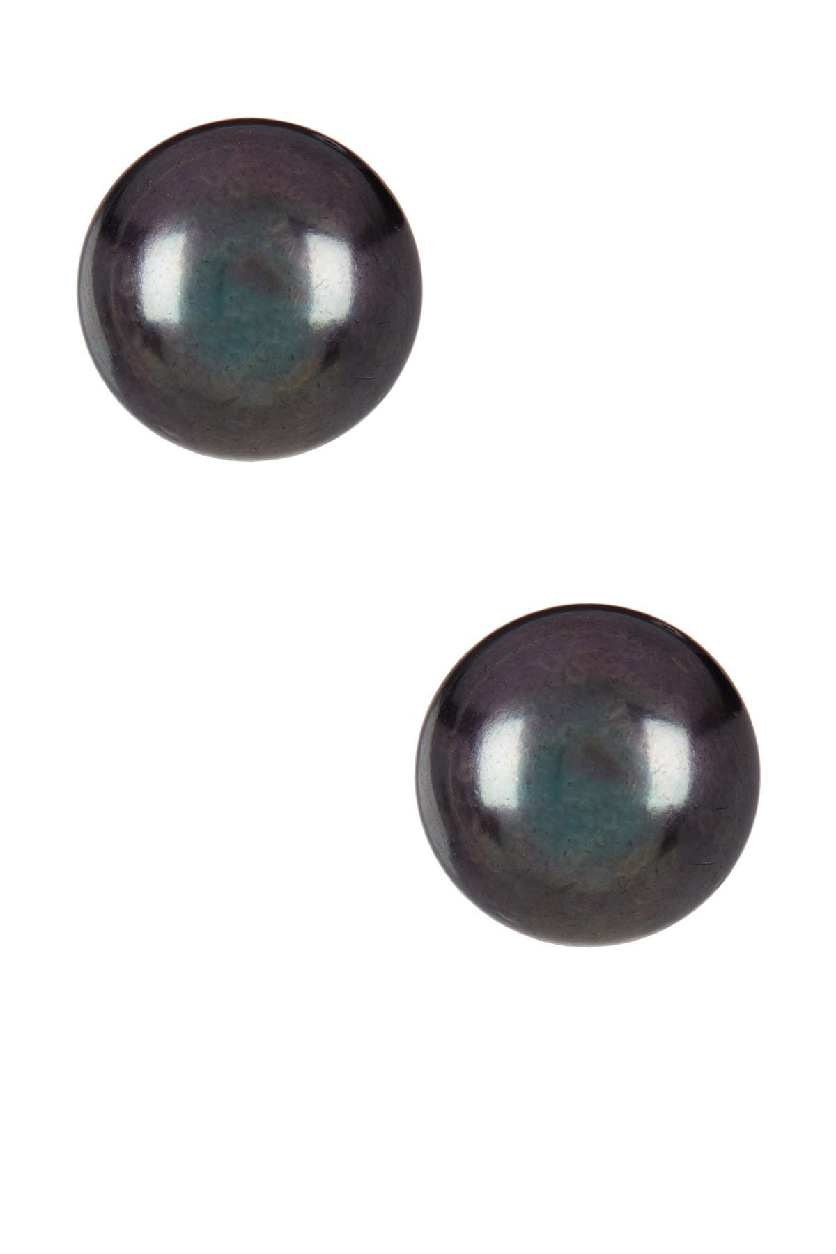 Image of Splendid Pearls 14K Yellow Gold 12-12.5mm Black Pearl Stud Earrings