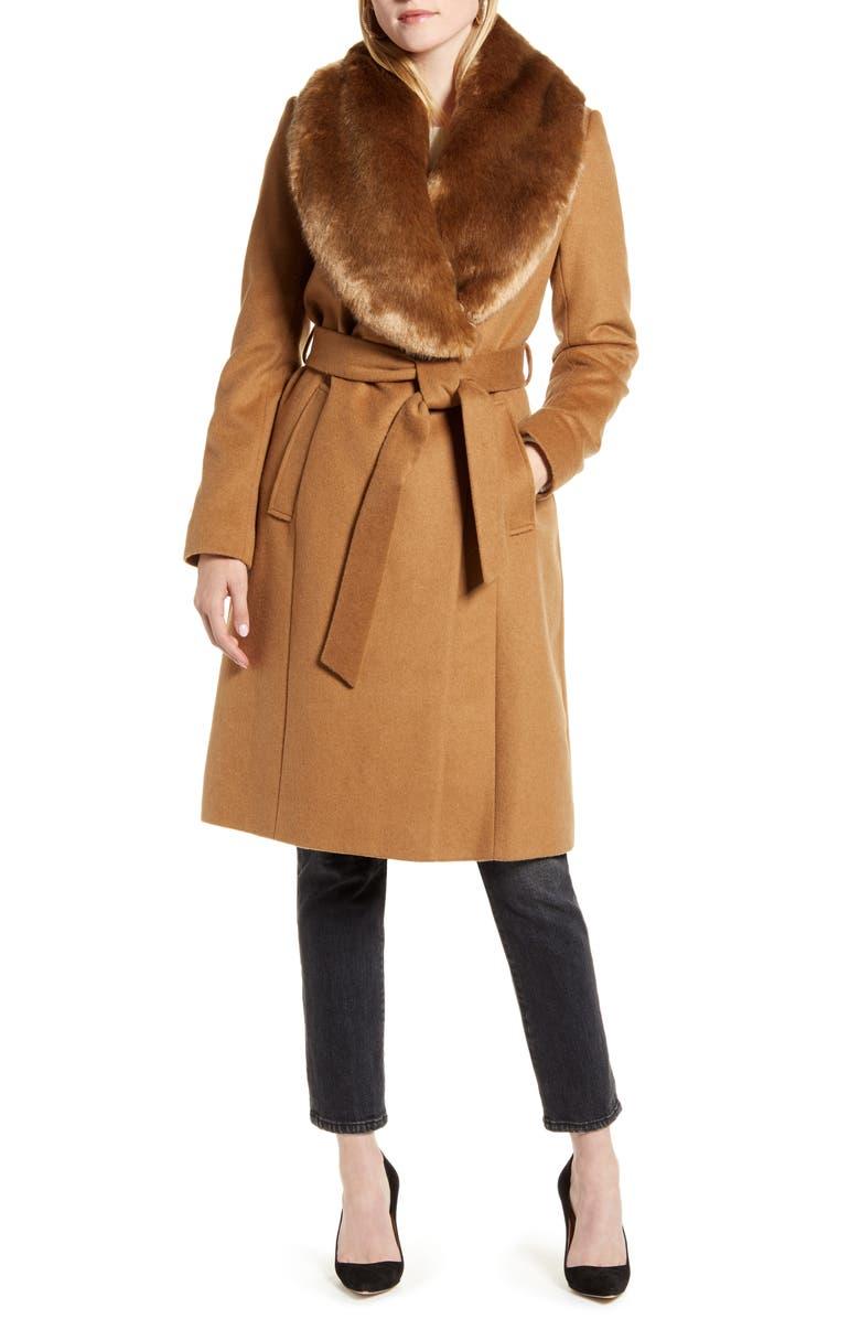 RACHEL PARCELL Faux Fur Collar Wool Blend Coat, Main, color, TAN DALE