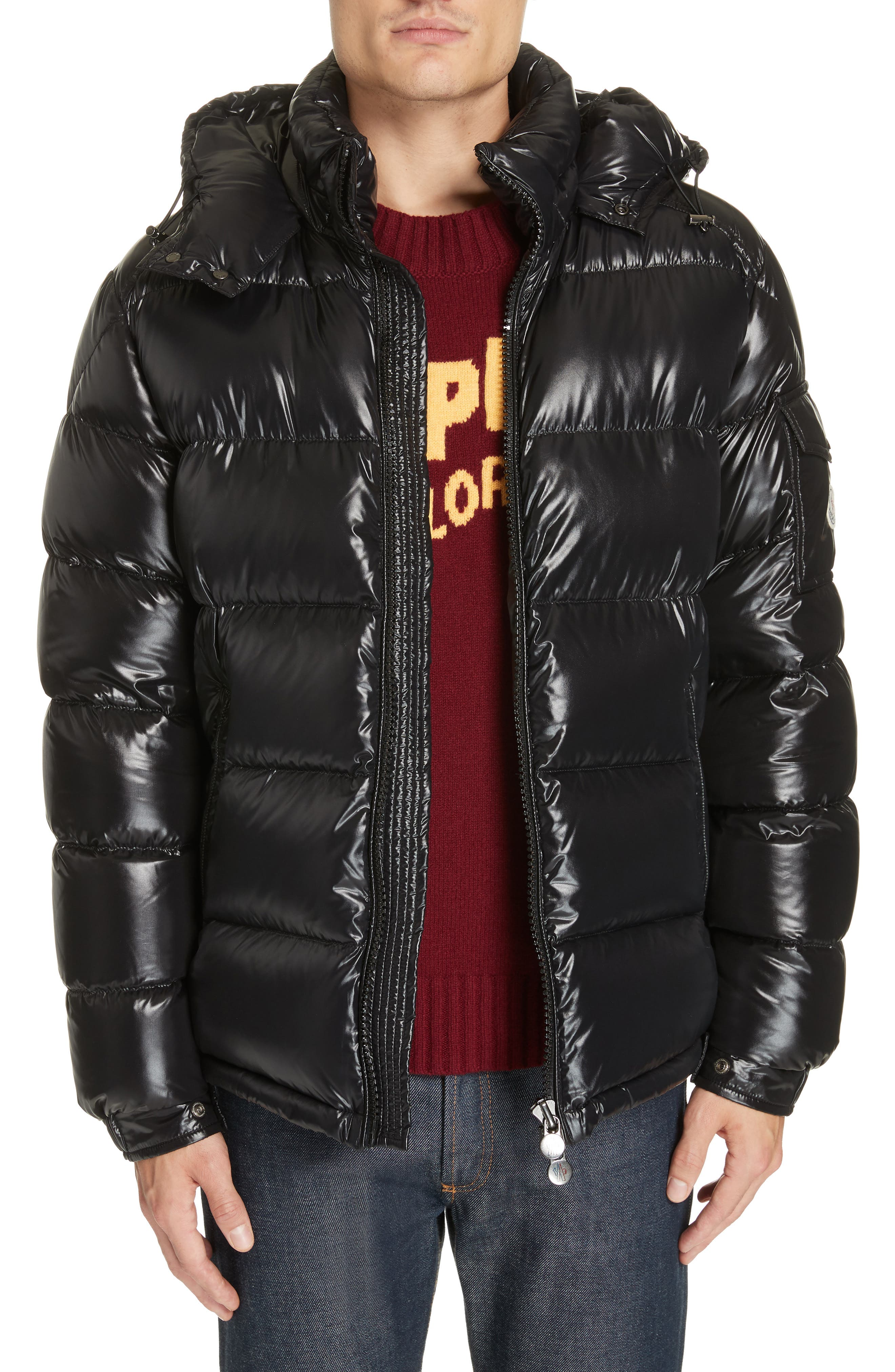 ,                             Maya Laque Quilted Down Jacket,                             Alternate thumbnail 4, color,                             BLACK