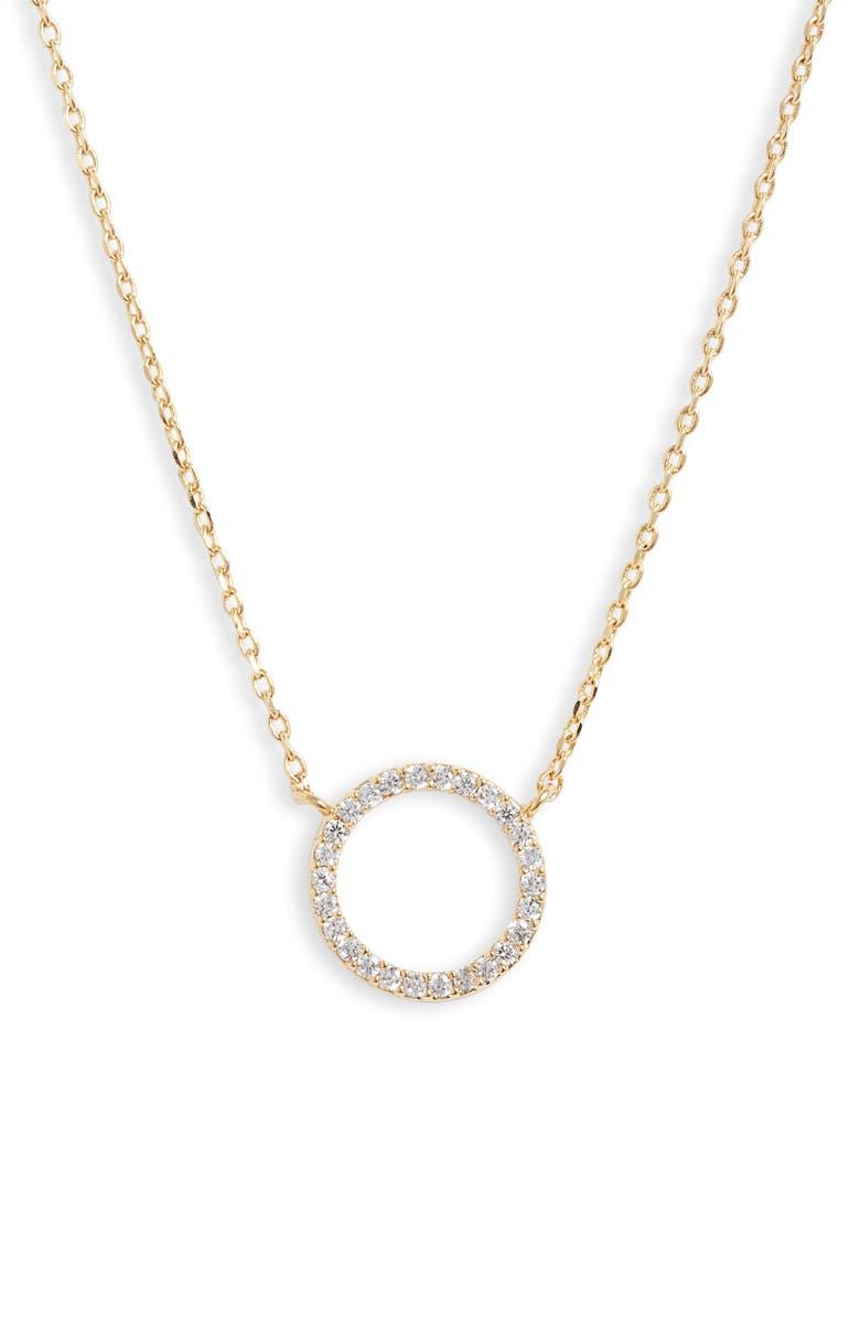ESTELLA BARTLETT Large Pavé Circle Pendant Necklace, Main, color, 710