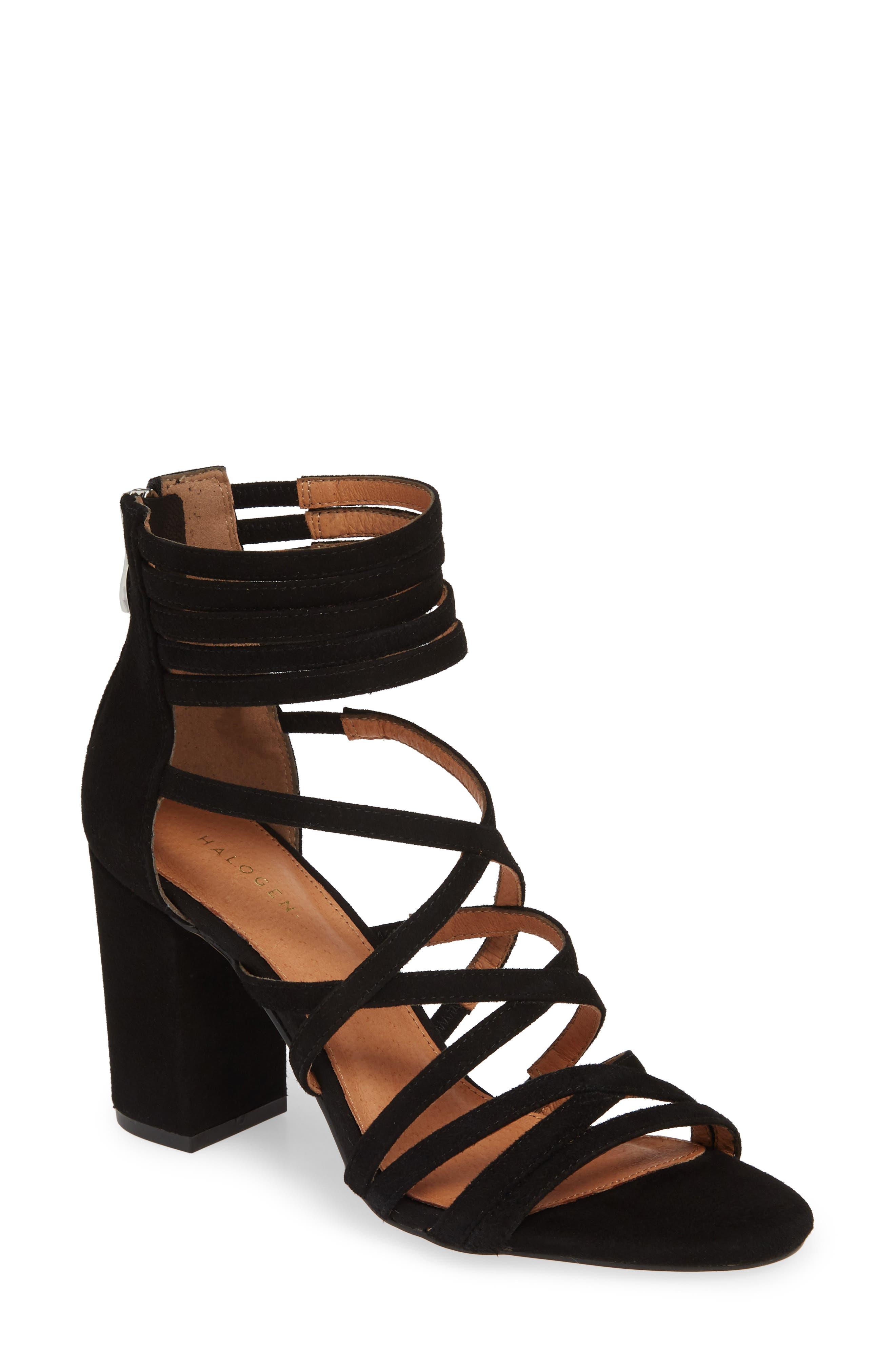 ,                             Strappy Block Heel Sandal,                             Main thumbnail 1, color,                             BLACK SUEDE