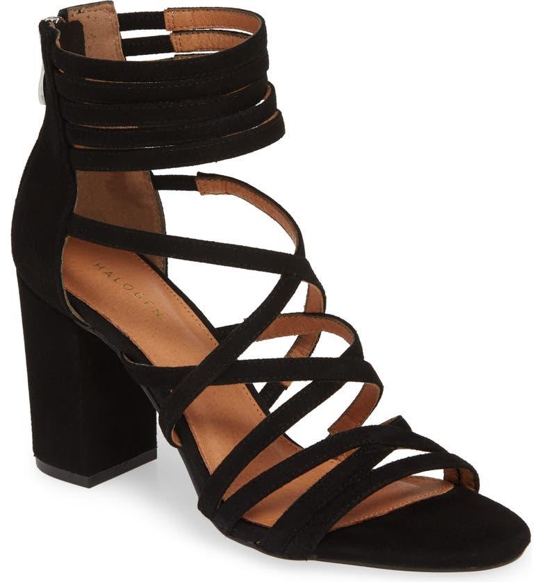 HALOGEN<SUP>®</SUP> Strappy Block Heel Sandal, Main, color, BLACK SUEDE