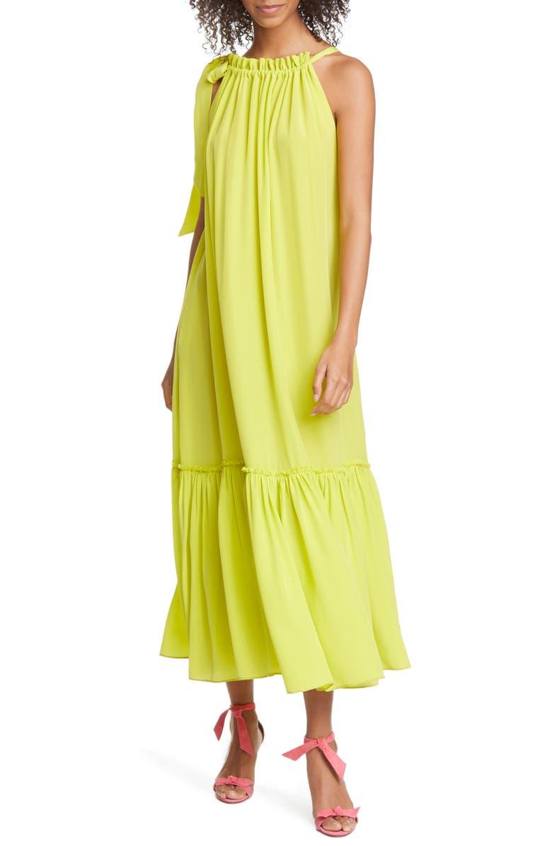 LE SUPERBE Tie Shoulder Ruffle Hem Silk Maxi Dress, Main, color, HIGHLIGHTER