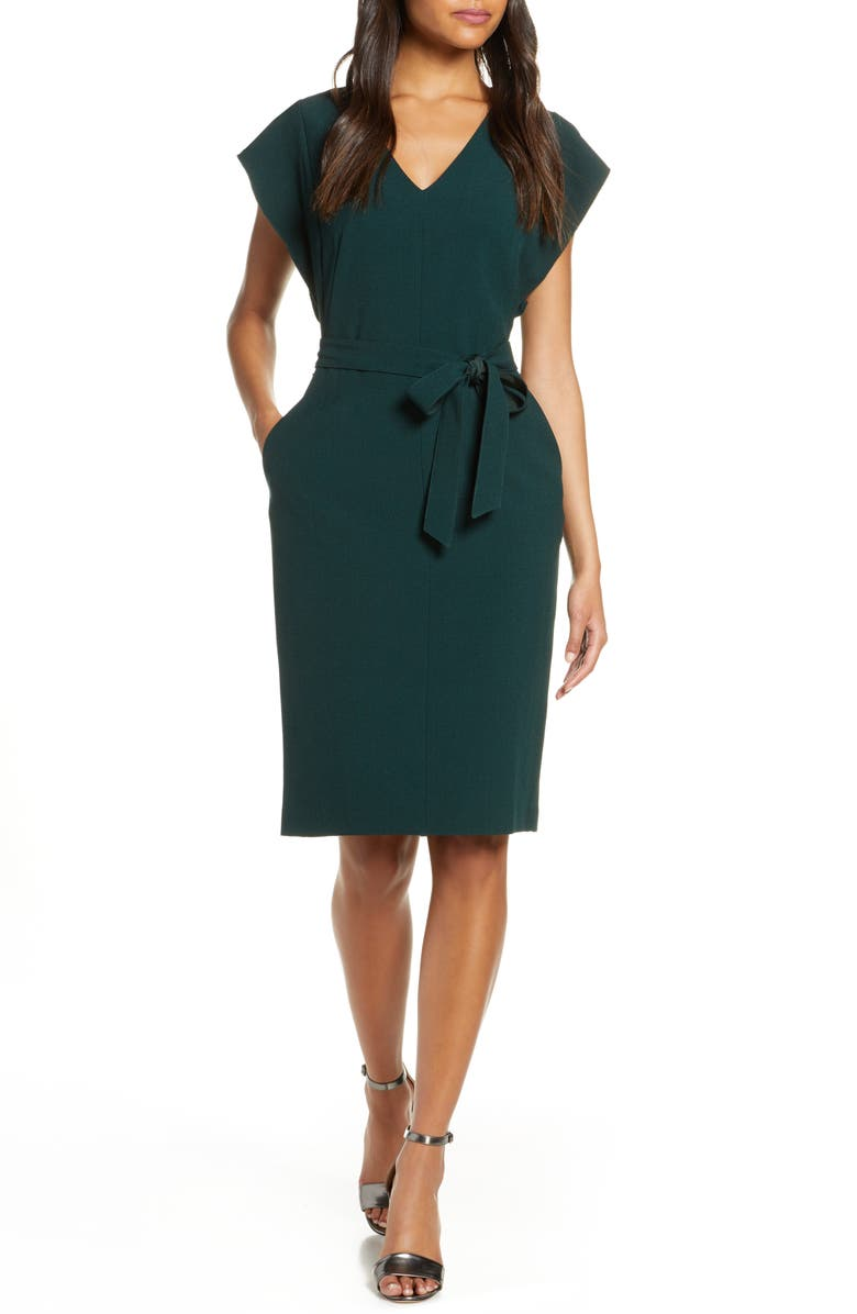 ELIZA J Ruffle Sleeve Sheath Dress, Main, color, HUNTER