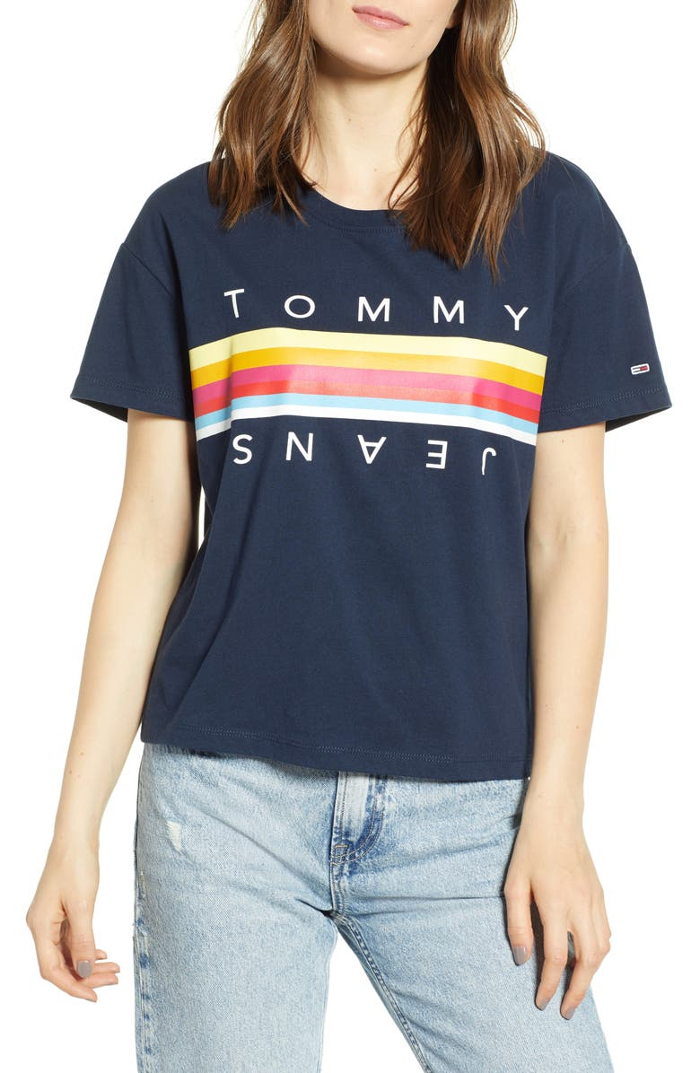 TOMMY JEANS Multicolor Logo Tee, Main, color, 402
