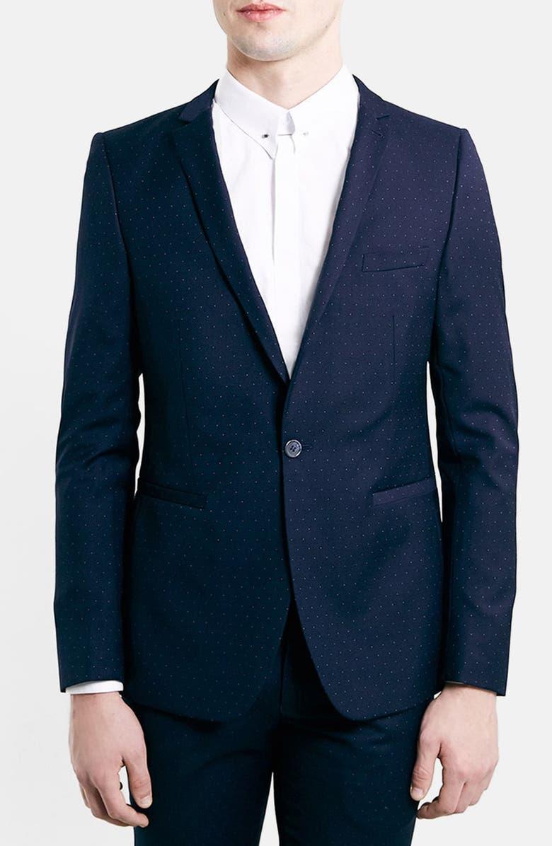 TOPMAN Skinny Fit Navy Pin Dot Suit Jacket, Main, color, 410
