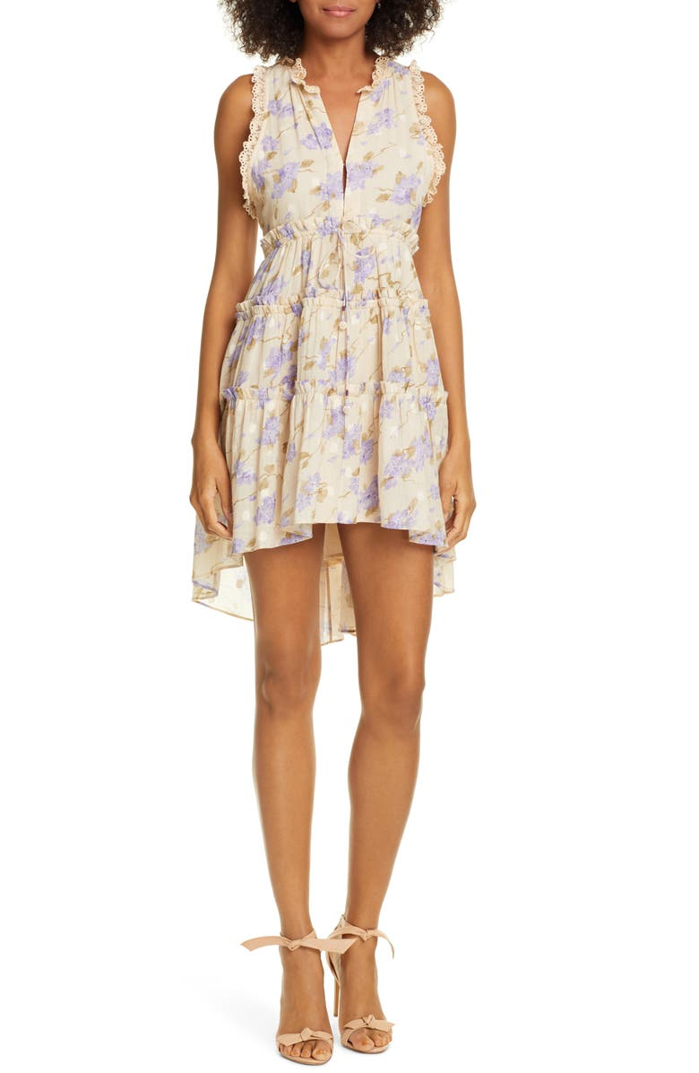LOVE SAM La Villette Floral Print Tiered Minidress, Main, color, 540