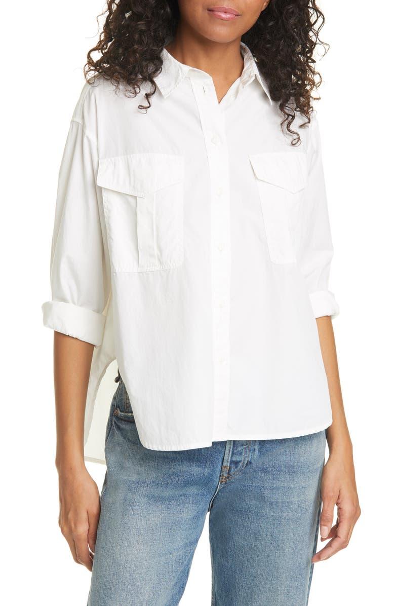 RAG & BONE Florian Cotton & Silk Shirt, Main, color, 100