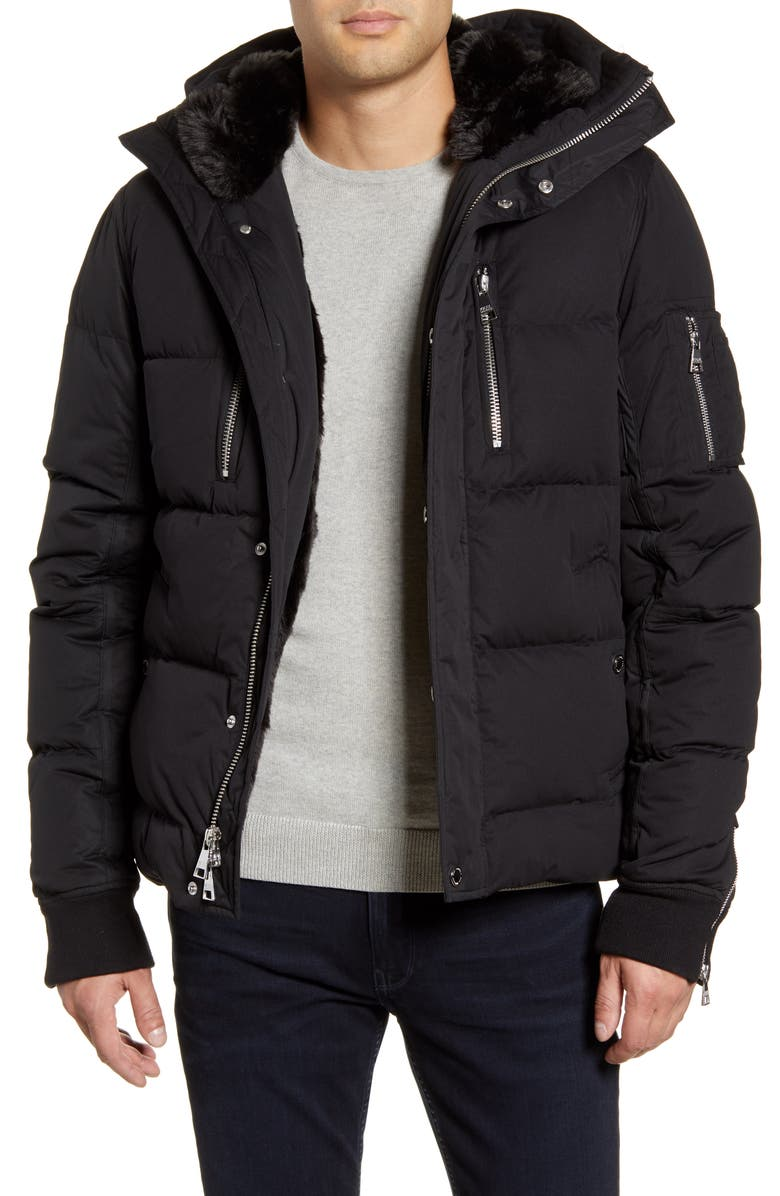 KARL LAGERFELD PARIS Faux Fur Lined Down & Feather Quilted Coat, Main, color, BLACK