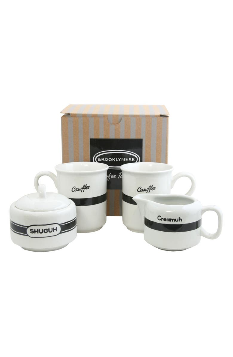 FISHS EDDY Brooklynese Coffee Mugs, Sugar Bowl & Creamer Set, Main, color, 100