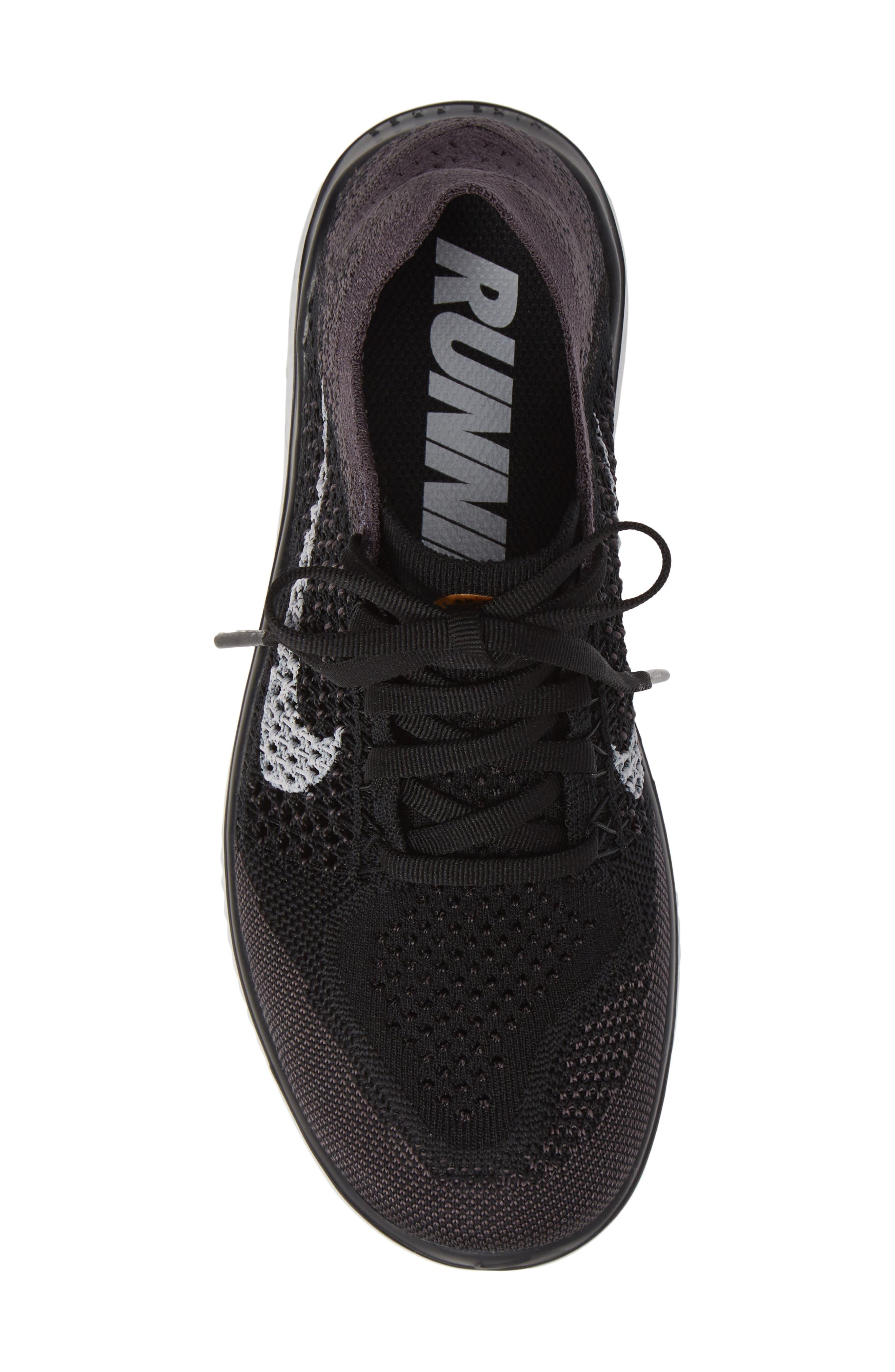 ,                             Free RN Flyknit 2018 Running Shoe,                             Alternate thumbnail 5, color,                             BLACK/ VAST GREY/ GOLD