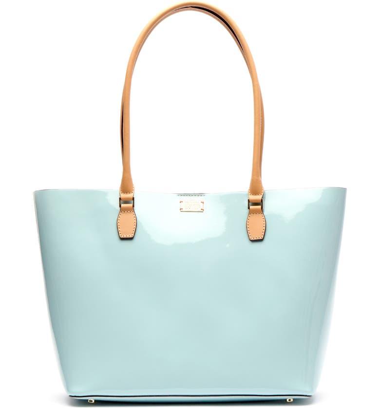 FRANCES VALENTINE Medium Trixie Patent Leather Tote, Main, color, LIGHT BLUE