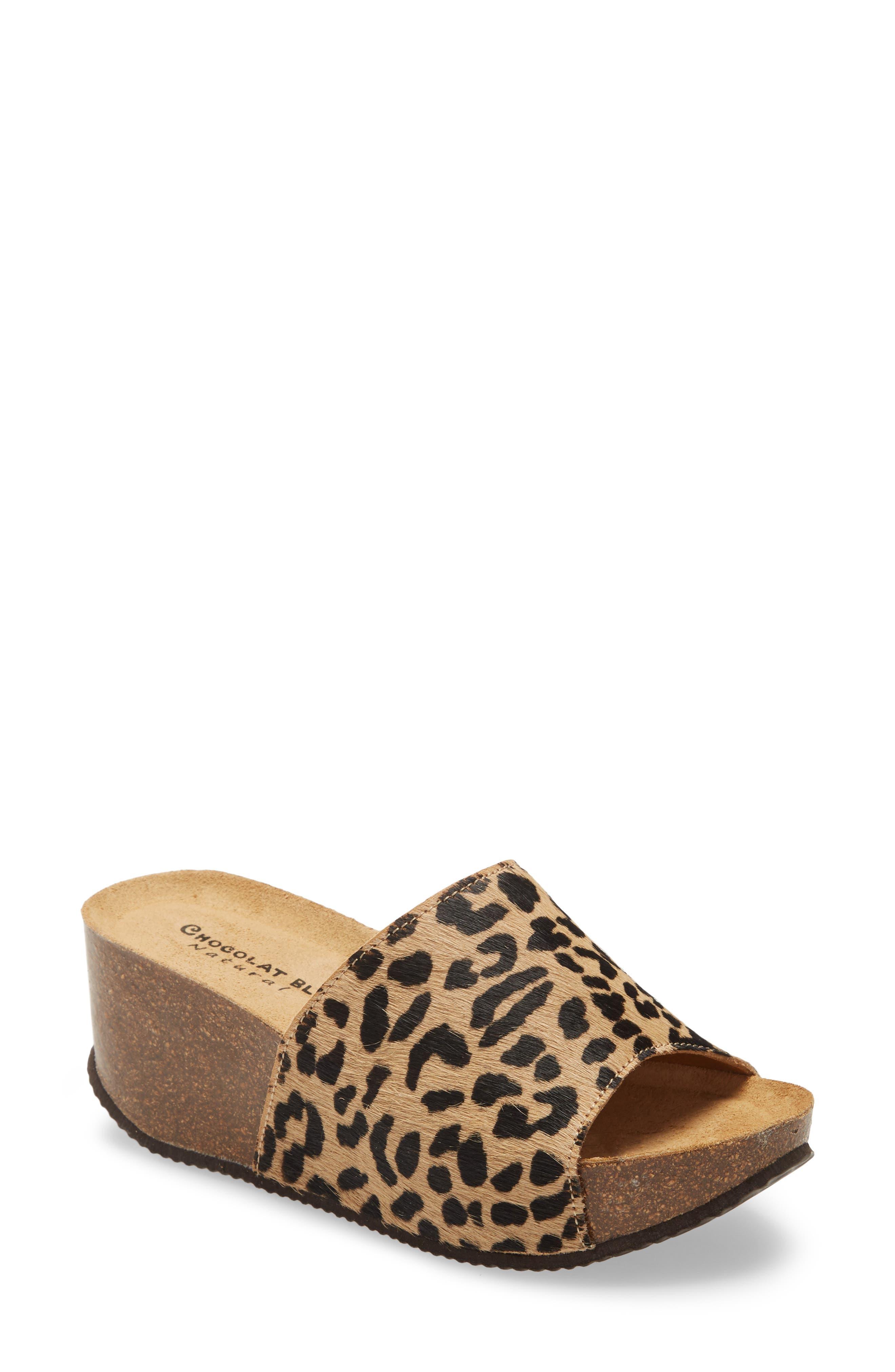 Abella Leopard Print Genuine Calf Hair Mule