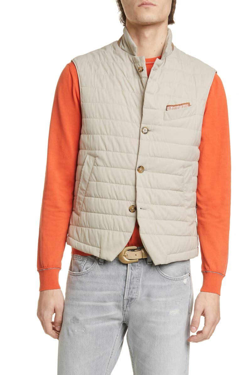 ELEVENTY Packable Quilted Vest, Main, color, SAND