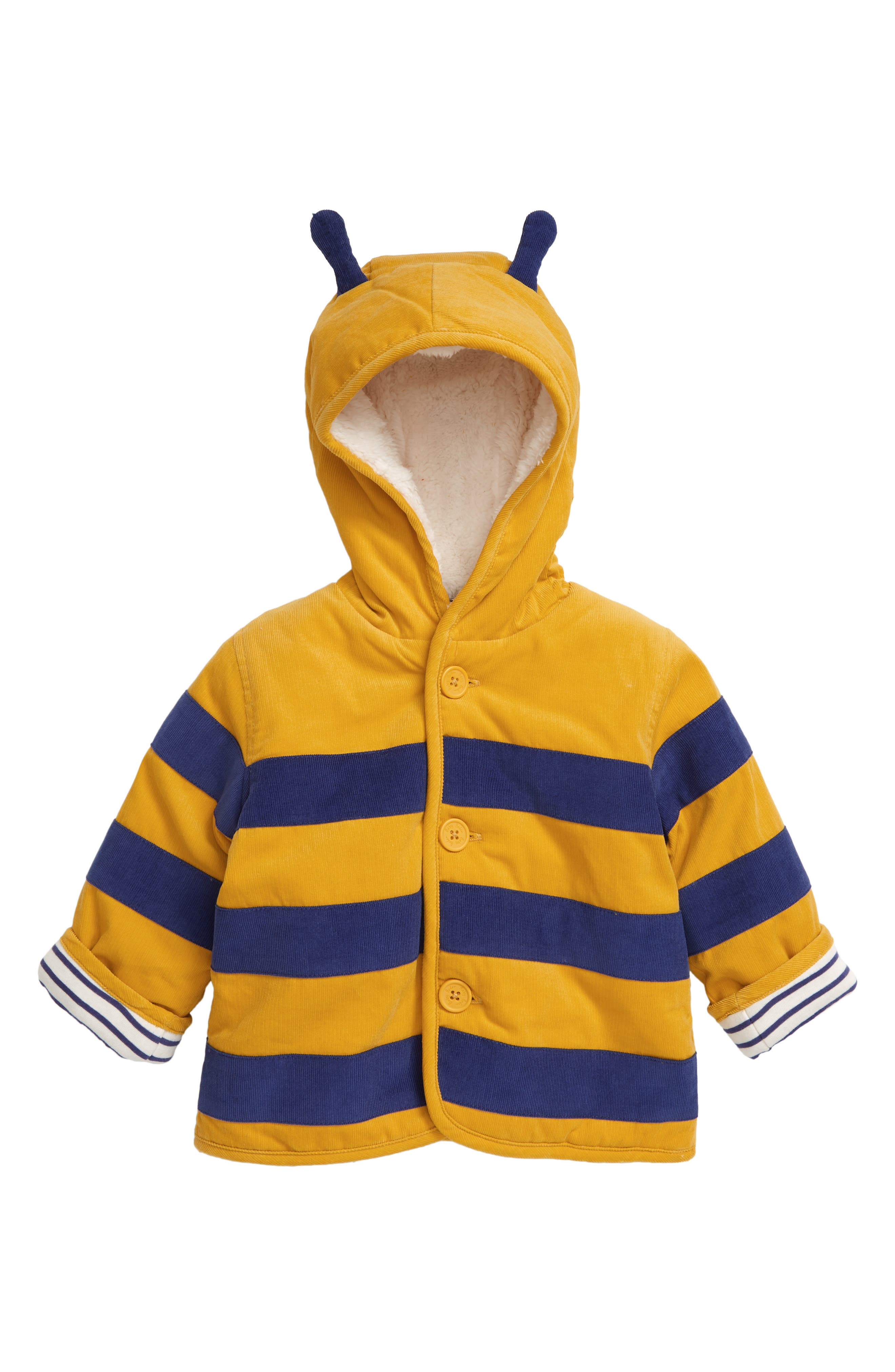 Keep your little bumblebee cozy on chilly days in a button-down jacket with a high-pile fleece-lined hood. Style Name: Mini Boden Corduroy Button Down Hooded Jacket (Baby). Style Number: 6104867. Available in stores.