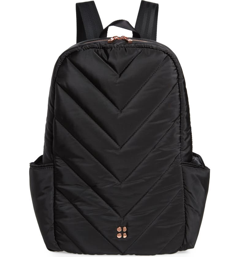 SWEATY BETTY Icon Quilted Black Backpack, Main, color, BLACK