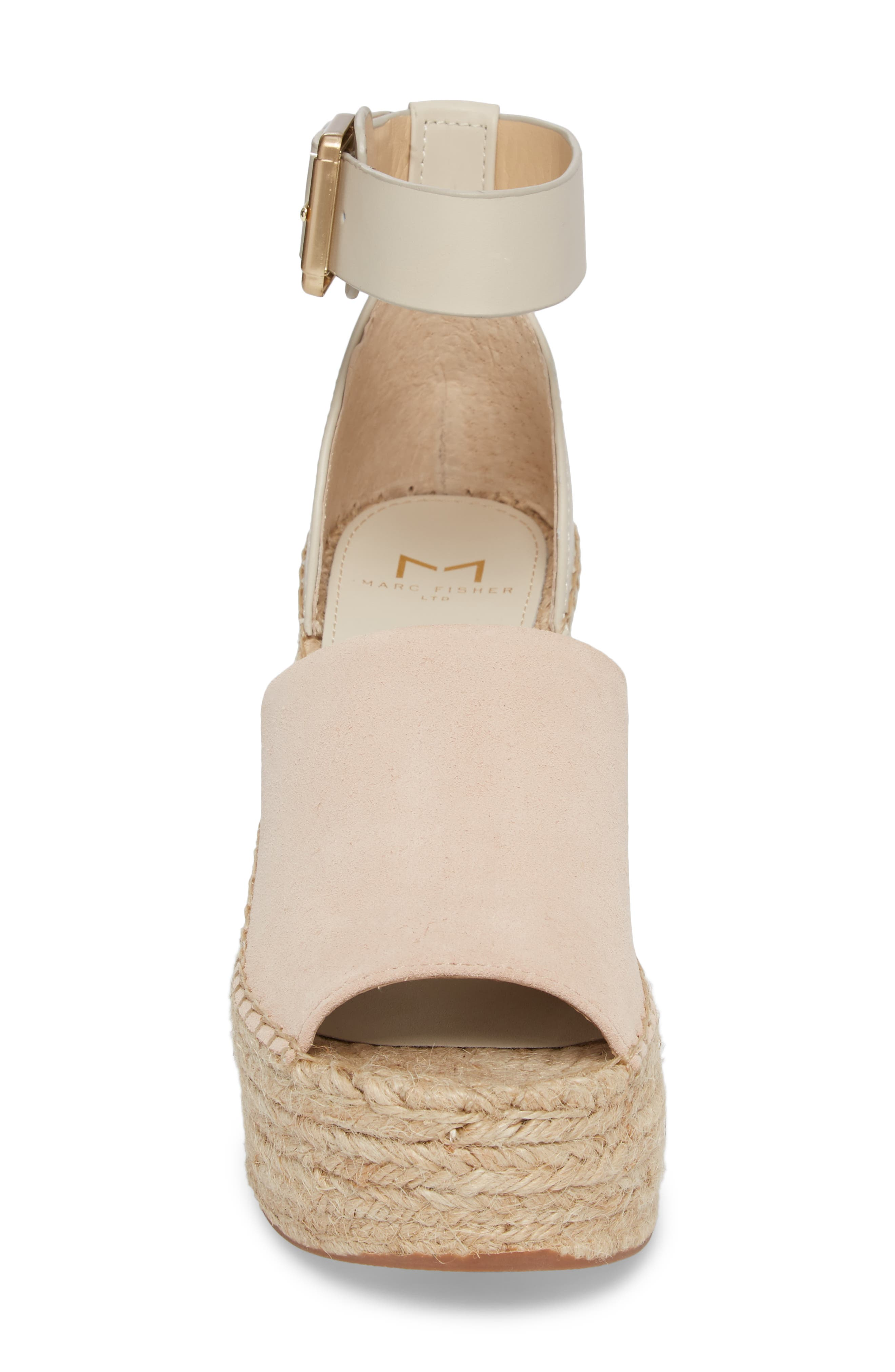 ,                             Adalyn Espadrille Wedge Sandal,                             Alternate thumbnail 4, color,                             IVORY SUEDE