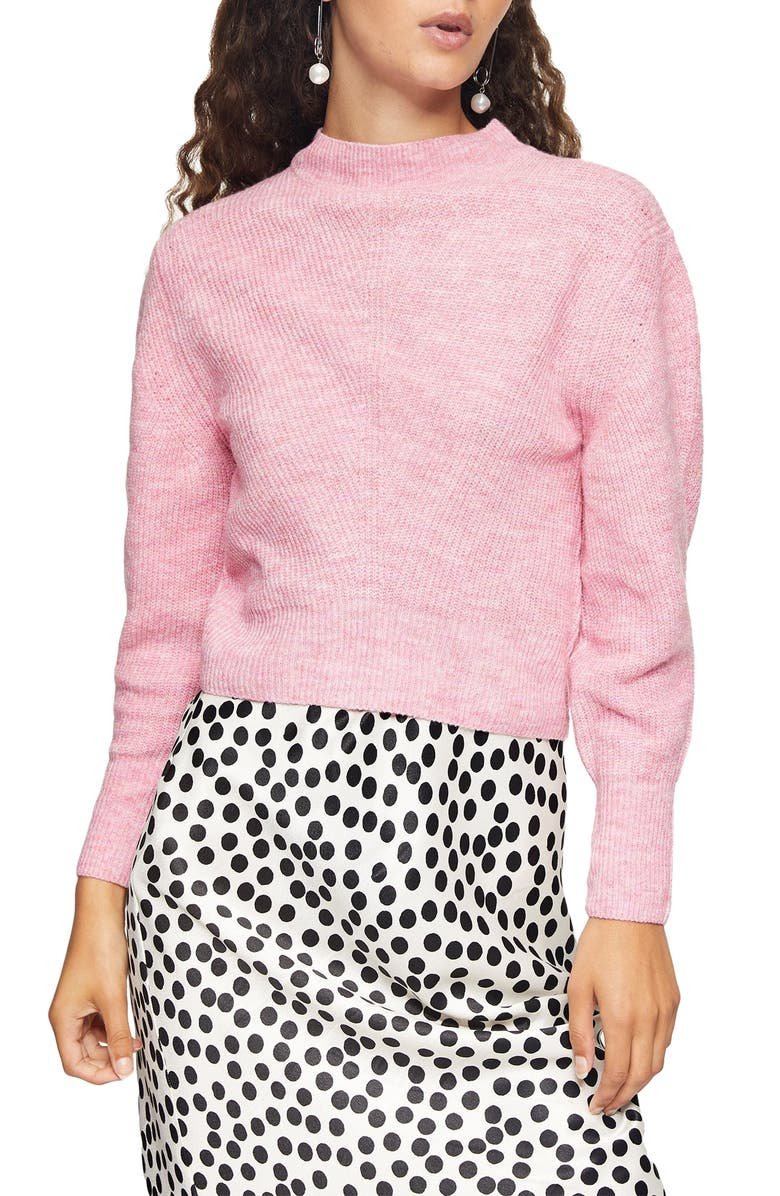 TOPSHOP Chevron Crop Sweater, Main, color, PINK