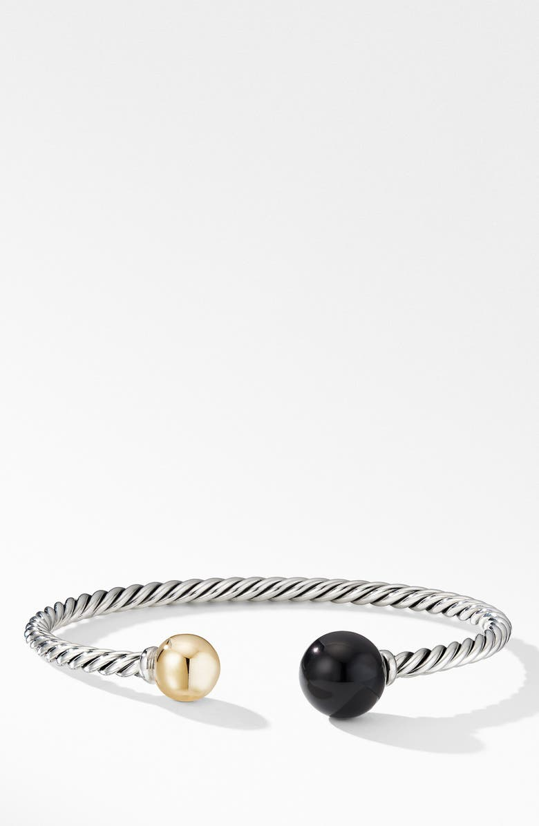 DAVID YURMAN Solari XL Cable Bracelet with Black Onyx, Gold Dome and 14K Yellow Gold, Main, color, SILVER/ GOLD/ ONYX