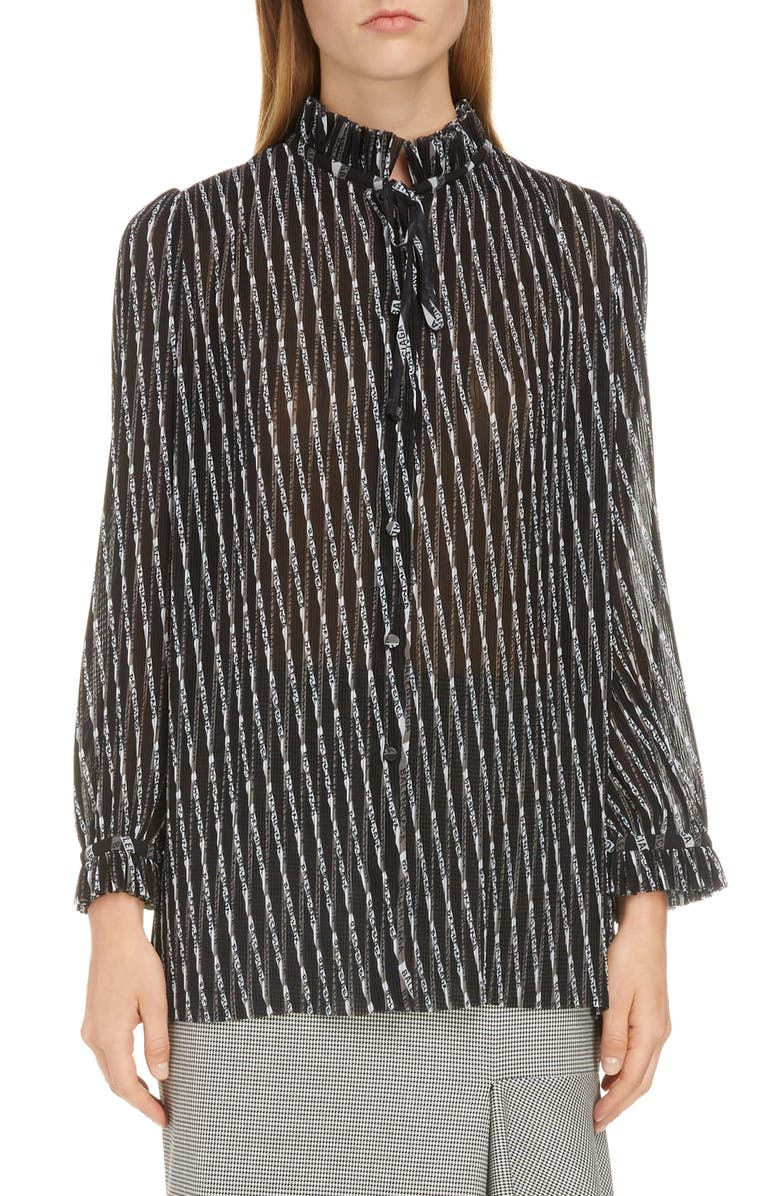 BALENCIAGA Monogram Print Silk Blouse, Main, color, 020