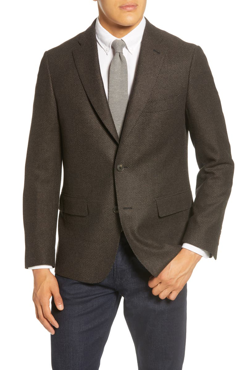 JOHN W. NORDSTROM<SUP>®</SUP> Traditional Fit Wool & Cashmere Sport Coat, Main, color, GREY PAVEMENT TAN BASKETWEAVE