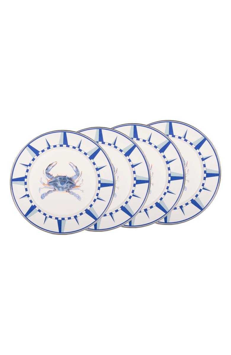 GOLDEN RABBIT Blue Crab Set of 4 Dinner Plates, Main, color, 100
