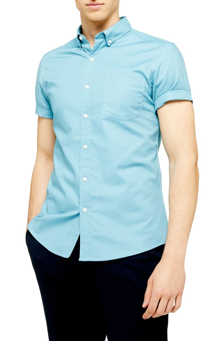 TOPMAN Stretch Skinny Fit Twill Shirt, Main, color, BLUE