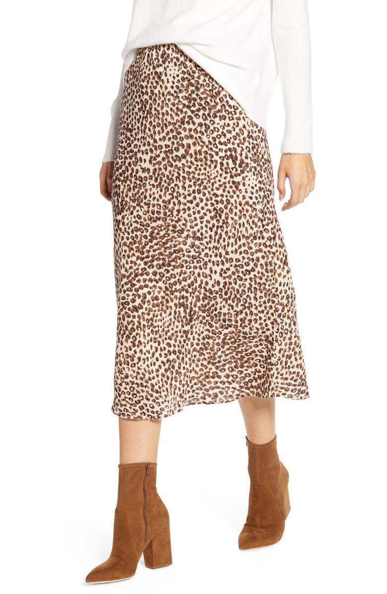 LUCKY BRAND Willa Leopard Crepe Skirt, Main, color, 230
