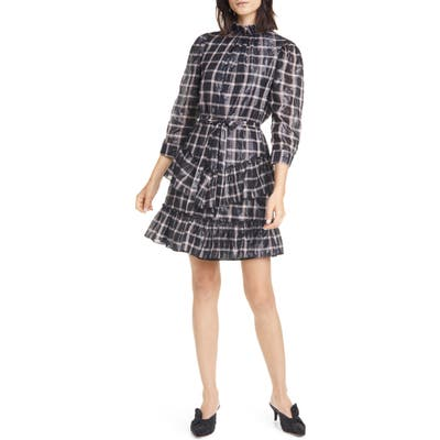 La Vie Rebecca Tayor Metallic Plaid Cotton Blend Dress, Pink