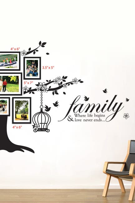 Image of WalPlus Photo Frame Birdcage & Family Birds Quote Decal