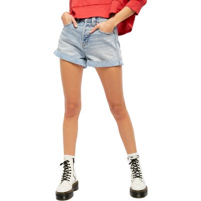 Free People Setting With The Sun High Waist Denim Shorts