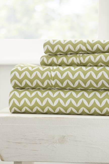 Image of IENJOY HOME The Home Spun Premium Ultra Soft Puffed Chevron Pattern 4-Piece Queen Bed Sheet Set - Sage