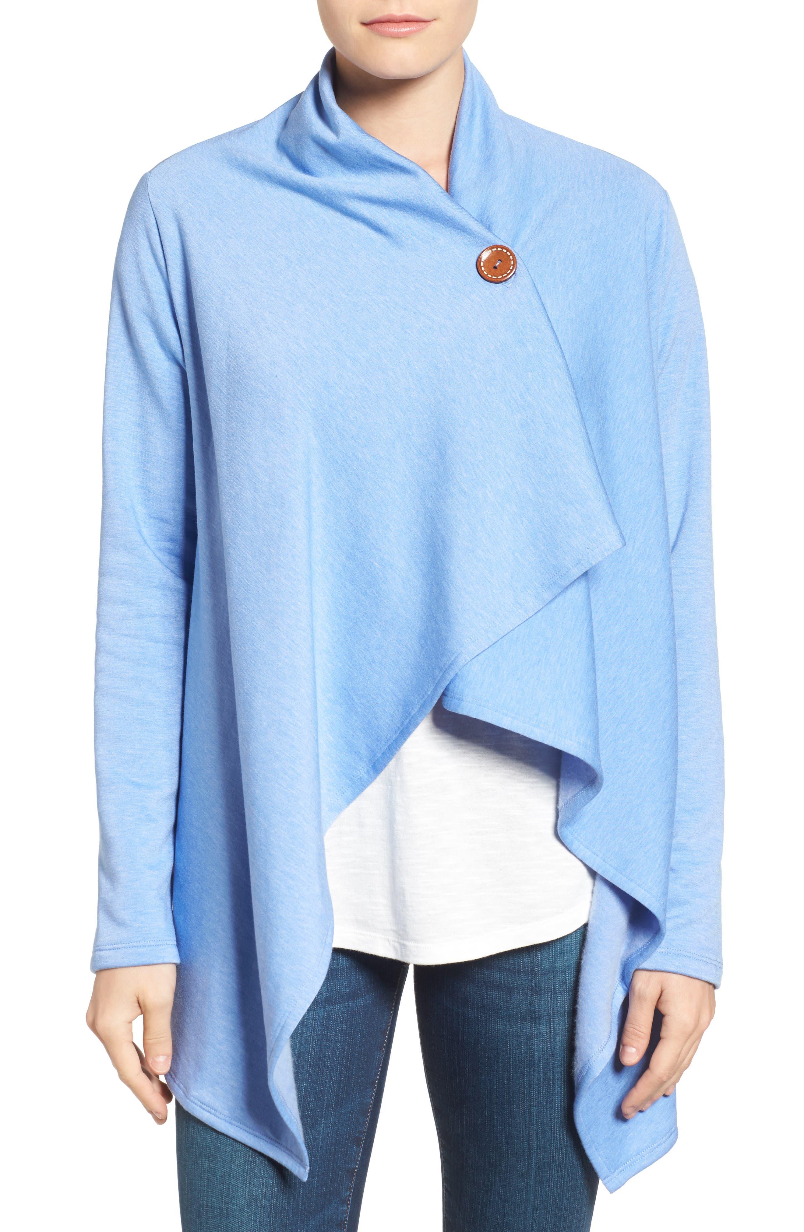 ,                             One-Button Fleece Wrap Cardigan,                             Main thumbnail 150, color,                             474