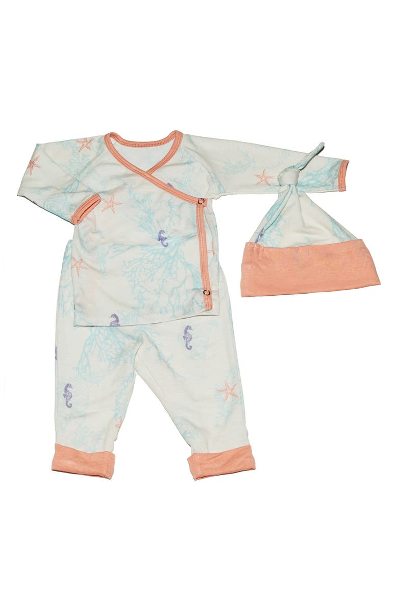 Baby Grey Seahorse Top Pants Hat Set Baby