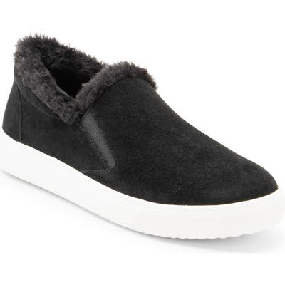 Blondo Gia Faux Fur Trim Waterproof Slip-On Sneaker, Black
