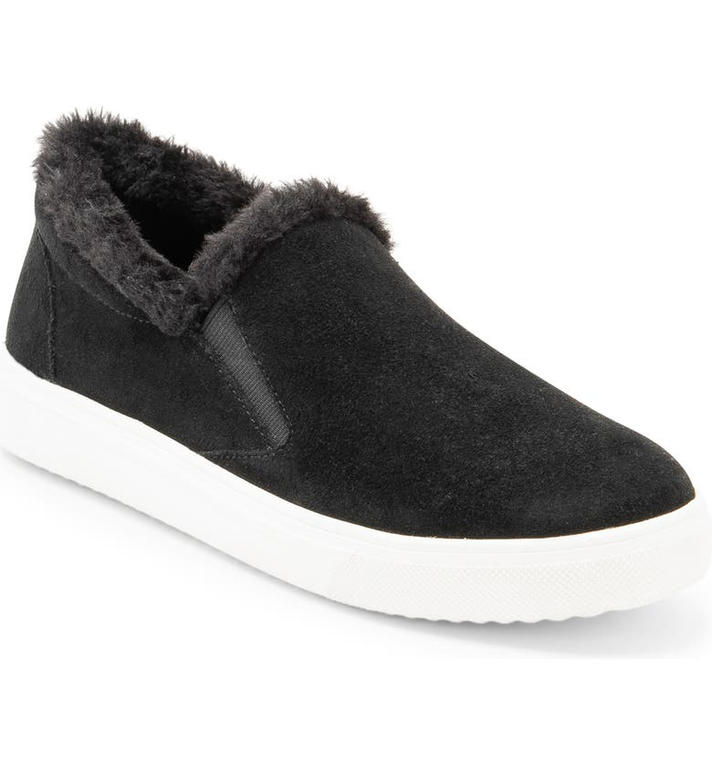 BLONDO Gia Faux Fur Trim Waterproof Slip-On Sneaker, Main, color, BLACK SUEDE