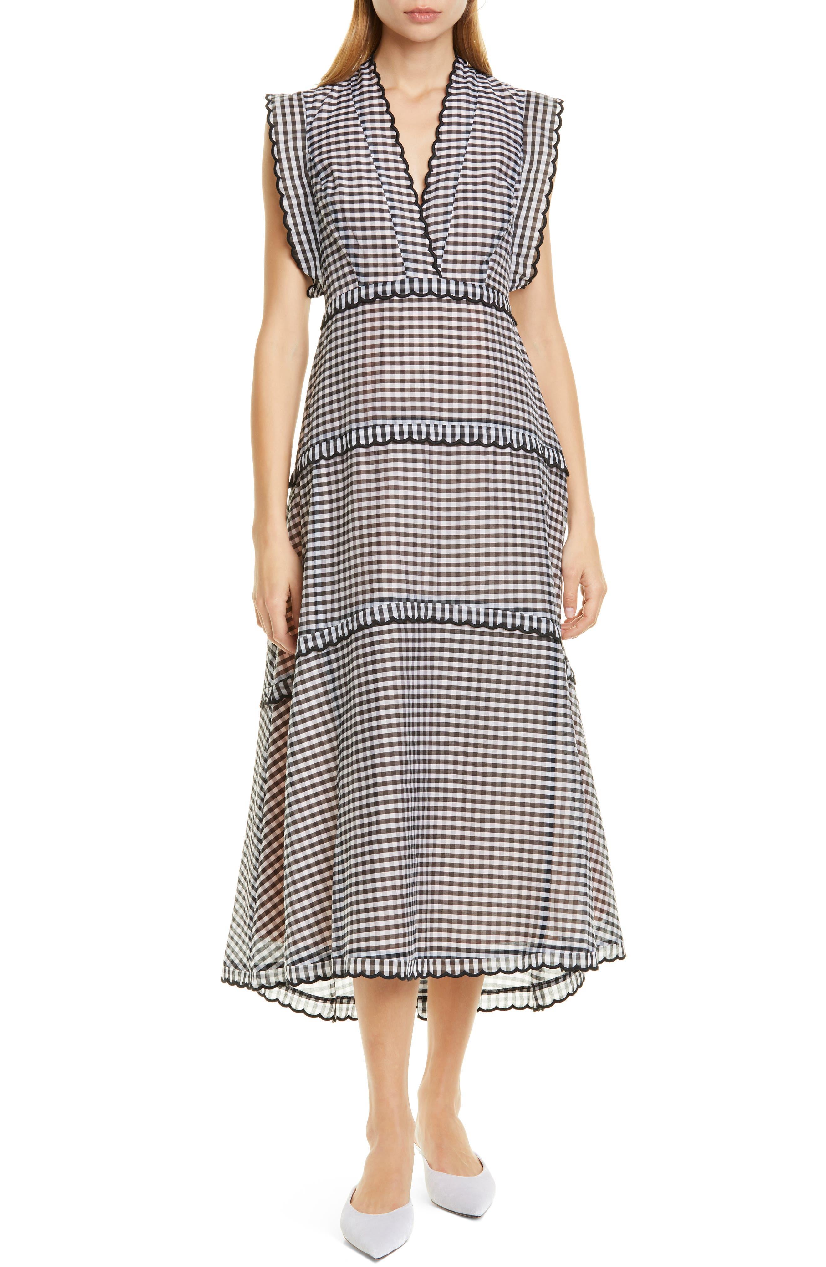 ,                             gingham midi dress,                             Main thumbnail 1, color,                             BLACK/ CREAM