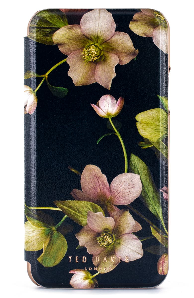 TED BAKER LONDON Arboretum iPhone X/Xs/Xs Max & XR Mirror Folio Case, Main, color, BLACK