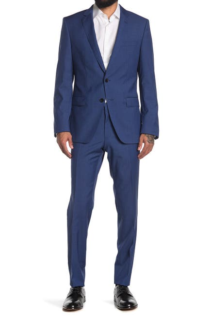 Image of BOSS Huge Genius Blue Solid Two Button Notch Lapel Wool Suit