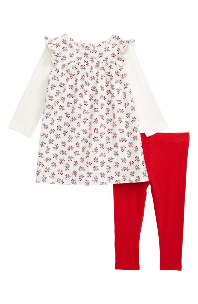 NORDSTROM Festive Long Sleeve Corduroy Dress & Leggings Set, Main, color, IVORY EGRET WOODLAND BERRY