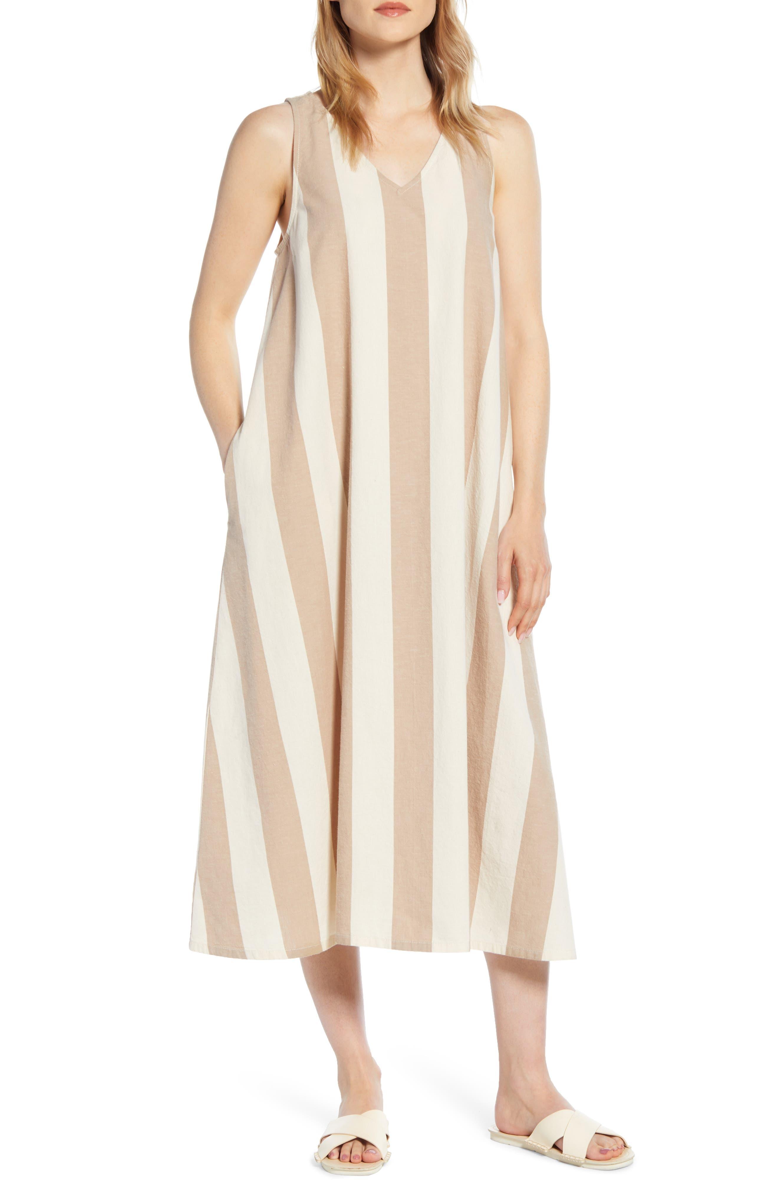 Lou & Grey Stripe V-Neck Dress, White
