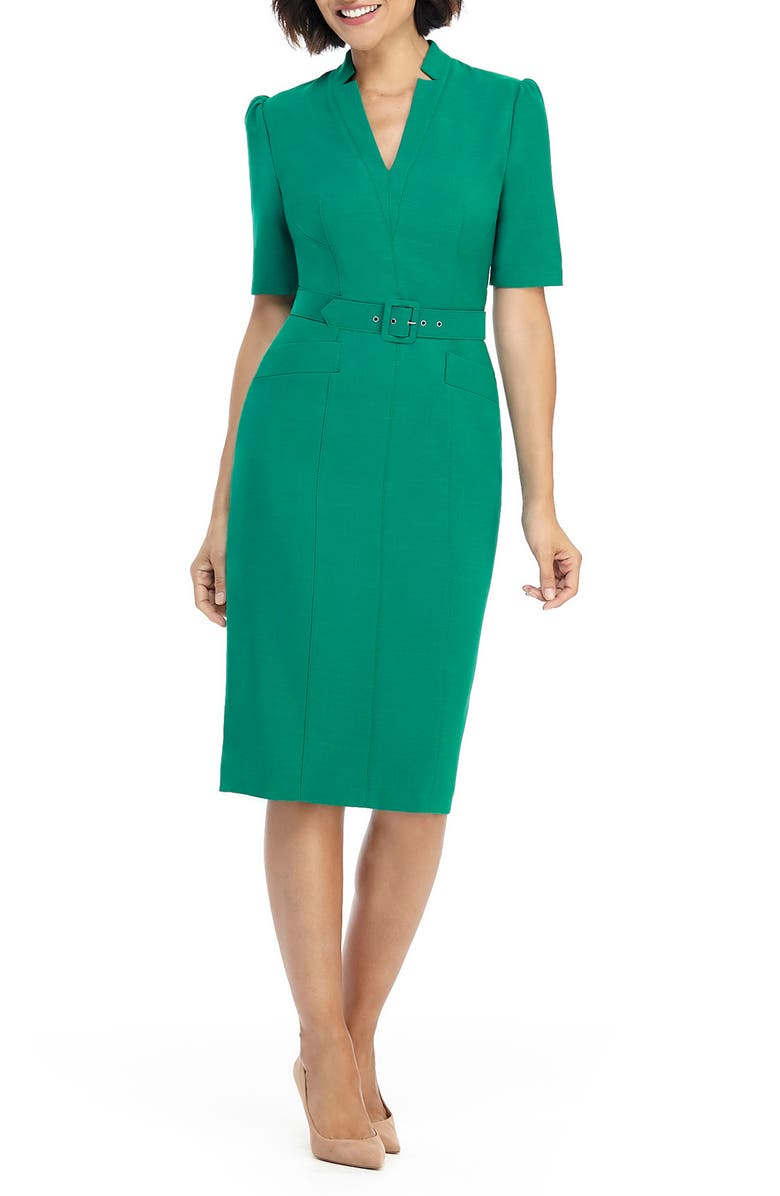 MAGGY LONDON Belted Sheath Dress, Main, color, AMAZON