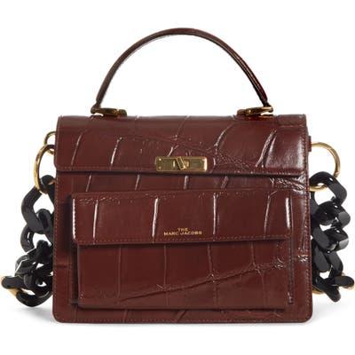 Marc Jacobs The Uptown Croc Embossed Leather Shoulder Bag - Brown